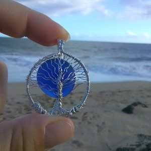 Dark Blue Sea Glass Silver Tree of Life Necklace